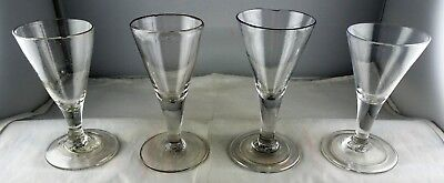 4 Antique Trumpet Bowl Wine Glasses - 3 With Folded Foot
