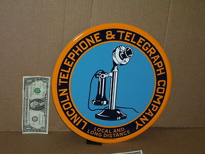 LINCOLN - TELEPHONE TELEGRAPH Gas Station PHONE BOOTH- OLD Round SIGN -Dated '96
