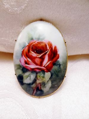 Vintage Antique Victorian Porcelain Hand Painted Red Rose Brass Brooch Pin