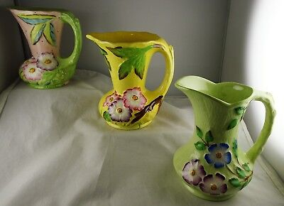 3 James Kent Floral Hand Painted Cream Pitchers 2974 Annette 4010 Wild Rose 5032