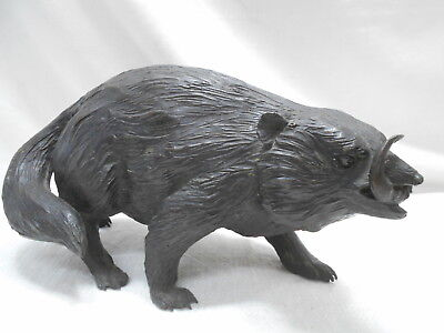 Vintage Bronze Native Rat Statue Nezumi Animal Feral  Japanese Circa 1930s #41