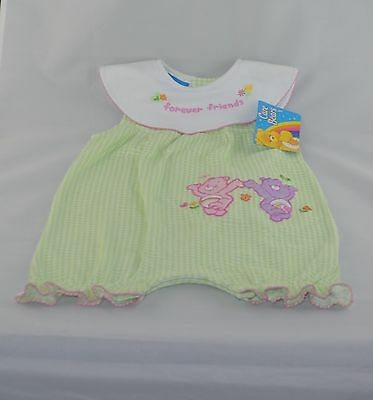 """NEW GIRL'S CARE BEARS ROMPER APPLIQUE EMBROIDERY OF """"FOREVER FRIEND""""  18  month"""