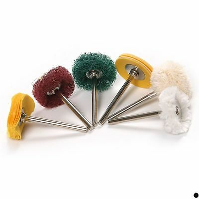 6pcs Wheel Brush Buffing Dremel Rotary Die Grinder Polishing Drill Bit