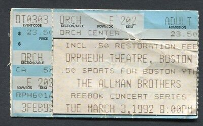 1992 Allman Brothers concert ticket stub Orpheum Boston MA Shades of Two