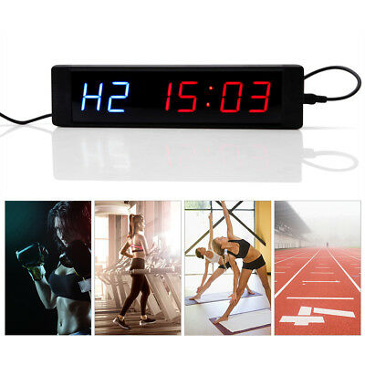 LED Display Programmable Interval Timer Wall Clock w/ Remote f/ Fitness Training