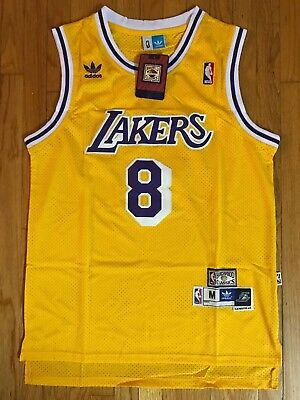 Kobe Bryant #8 Jersey Los Angeles Lakers Vintage Yellow Throwback NBA Basketball