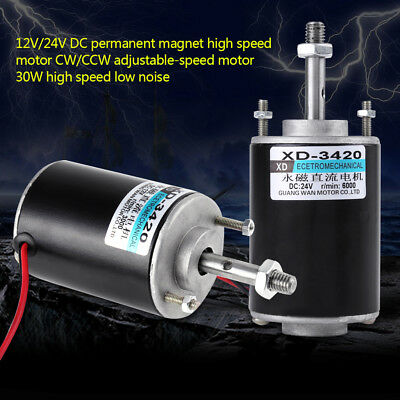 12/24V 30W Permanent Magnet DC Motor High Speed CW/CCW For DIY Generator WD