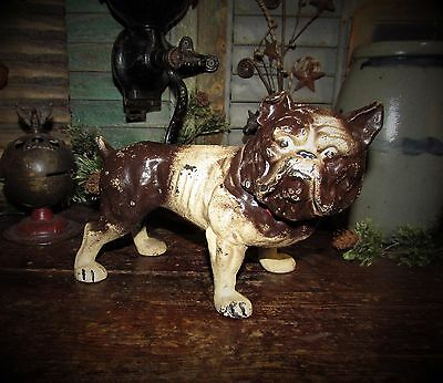 Antique Vtg Cast Iron English Bulldog Dog Bank Door Stop Gift Idea