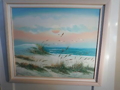 Hand Painted Giclee on Canvas Beach Sunset Signed Winston Framed