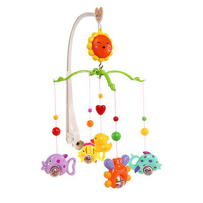 6x Baby Kids Crib Mobile Bed Bell Holder Toy Arm Bracket Wind Up Music Box White
