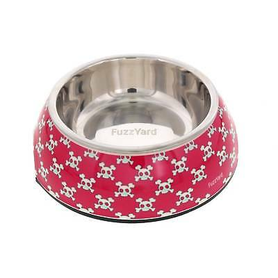 Fuzzyard Bad To The Bone Pink Skulls Cat Pet Bowl Small With Rubber Base