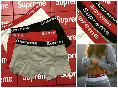 Mens Fashion Supreme Boxers Briefs Trunks Cotton Underwear Black White Red Grey
