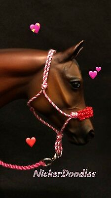 """Model horse rope halter & lead rope-Traditional size (1:9) """"Hearts n' Roses"""""""