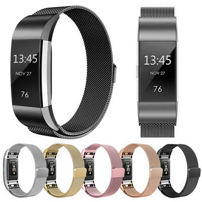 For Fitbit Charge 2 Magnetic Milanese Stainless Steel Watch Band Strap Unisex UK
