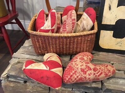 primitive basket valentine hearts