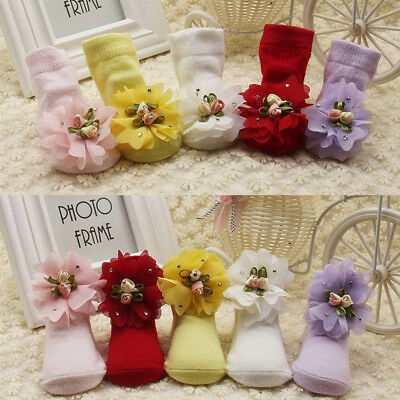 Baby Kids Girls Comfortable Floral Cute Cotton Sock Slippers Warm Ankle Socks