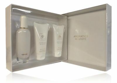 Clinique Aromatics in White Essentials Eau de Parfum, Body Lotion and Body Wash.