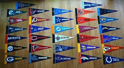 NFL Football Felt Mini Team Pennant Flags, Choose From All 32 Teams