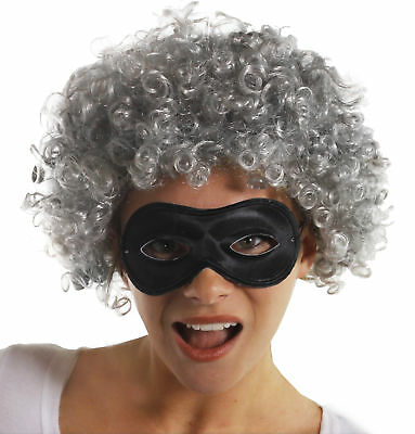 Adults Granny Gangster Grey Wig And Black Mask Book Week Fancy Dress Costume