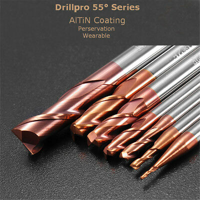 Drillpro 1-8mm 2 Flutes Tungsten Carbide End Mill Cutter HRC55 AlTiN Coating CNC