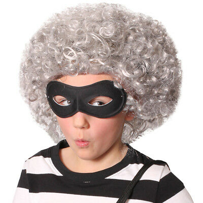 Childs Afro Wig And Black Mask Book Week Fancy Dress Costume Granny Gangster