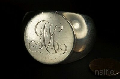 ANTIQUE ENGLISH SILVER SIGNET RING STYLE NAPKING RING by SAMPSON MORDAN c1905