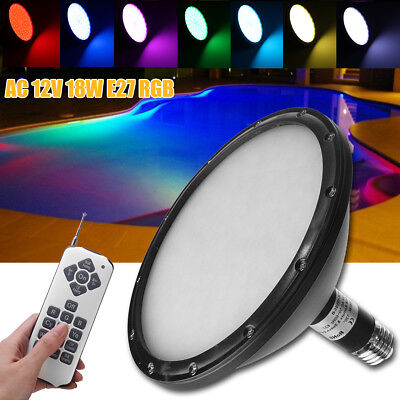 AC 12V E27 18W RGB Underwater Swimming Pool Light LED Lamp Remote Control