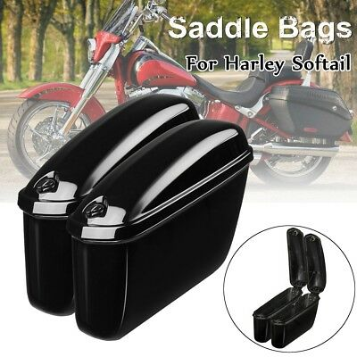 2x Motorcycle Hard Trunk Saddlebags Saddle Bags Side Box For Harley Softail DYNA