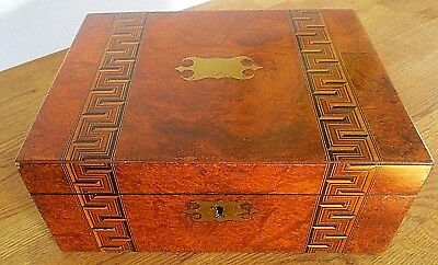 Beautiful Large Antique Victorian Wooden Box With Inlay & Brass Unused Cartouche