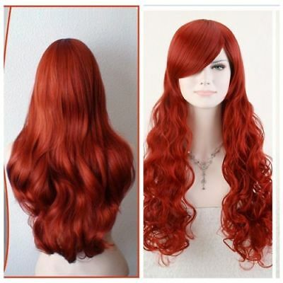 """sexy POISON IVY Batman Red Long Wavy 80cm 32"""" Anime Cosplay Hair Wig   AA"""
