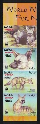 Eritrea WWF Aardwolf 4v Imperforated strip SG#488-491 SC#350 a-d MI#254B-257B