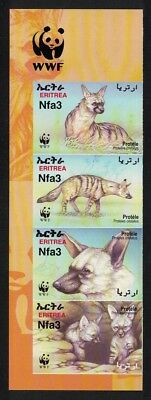 Eritrea WWF Aardwolf 4v Left Imperforated strip WWF Logo SG#488-491 SC#350 a-d