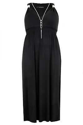 Plus Size Womens Sleeveless Maxi Dress With Spring Details & Free Necklace
