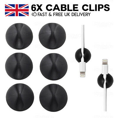6 x Cable Drop Tidy Holder Clip Lead Organiser Wire Cord USB CableDrop