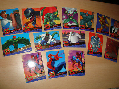 Fleer 95 Ultra Sammelkarten Spider-Man Marvel Rhino Scorpion Mysterio Kingpin