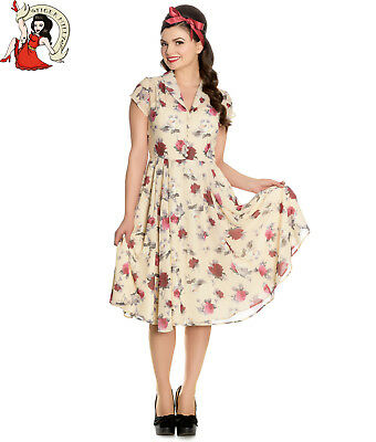 HELL BUNNY LEAH 40s vintage style FLORAL ROSE chiffon CREAM TEA DRESS XS-4XL