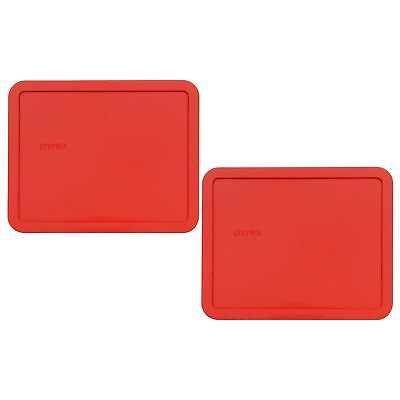 New Pyrex 7212-PC 11 Cup Rectangular Red Replacement Lid 2 Pack for Glass Dish