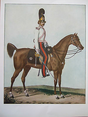 Vintage Military Print- Officer Of The Garde Du  Corps-Baden 1824