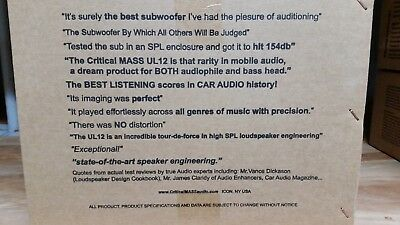 Ul12 Critical Mass Audio Mass Engineering Made In The Usa Best Sub Speaker 12''
