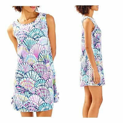 ef51729366 NEW Lilly Pulitzer STELLA SHIFT DRESS Serene Blue Oh Shello Embroidered  Purple 2