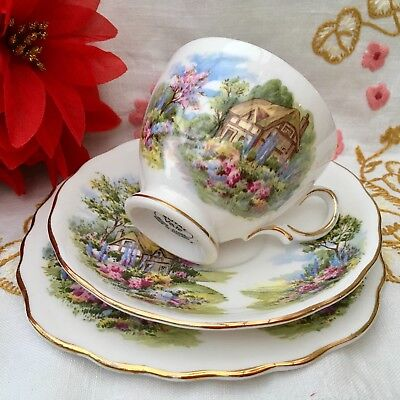 ROYAL VALE BONE CHINA 1950s TRIO CUP SAUCER PLATE SET - THATCHED COTTAGE GARDEN
