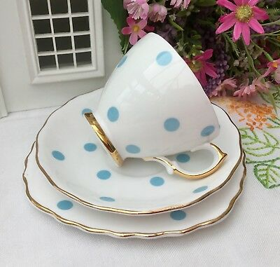 ROYAL VALE BONE CHINA 1950s TRIO CUP SAUCER PLATE SET - BLUE POLKA DOT SPOT
