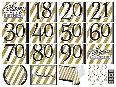 Black & Gold Happy Birthday Party Napkins 18th 21st 30th 40th 50th 60 70 80 90