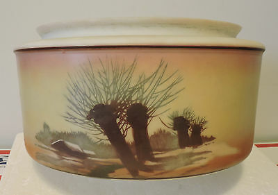 Antique Foyer Ceiling Light Fixture Hand-Painted 1952 Or Earlier