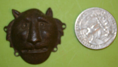 Antique Old Small Brass Lion Face Jewelry Pendant or Sew-on Fabric Embellishment