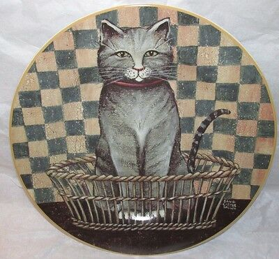 """2004 David Carter Brown Country Kitties 8.25"""" Plate Salad / Lunch Gray Tabby Cat"""