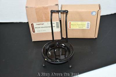 Longaberger WT Vertical Spoon Rest in EBONY & Wrought Iron Stand NIB