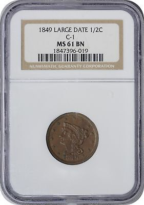 1849 Large Date Half Cent MS61BN NGC Mint State 61 Brown