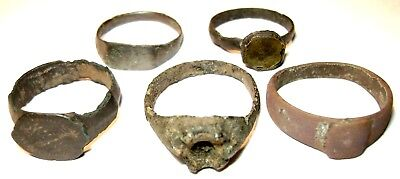 Ancient medieval lot of 5 bronze Rings.