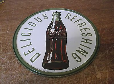 Coke Coca-Cola New Metal 1960's Bottle Round Sign Vintage Look